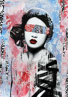 Bold Japanese inspired street art prints from famous urban artist Hush are amazing statement pieces for any room of the house. Inspiration Art, Art Inspo, Fond Pop Art, Pop Art Background, Rise Art, Urbane Kunst, Art Japonais, Identity Art, Arte Horror