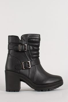 Buckle Quilted Lug Sole Bootie