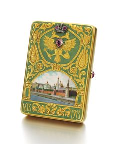 A rare and magnificent Imperial Presentation Fabergé jewelled gold and enamel cigarette case made for the Romanov Tercentenary, Moscow, 1913