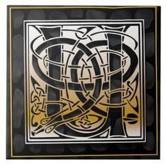 Celtic Black Stone U Monogram Initial Tile