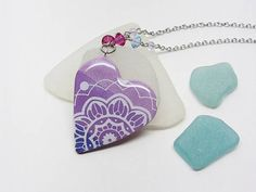 Purple heart necklace mandala necklace long pendant Polymer Clay Creations, Polymer Clay Jewelry, Lace Heart, Long Pendant Necklace, Swarovski Crystal Beads, Stainless Steel Chain, Dog Tag Necklace, Zen, Mandala