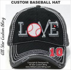 Glitter Baseball LOVE Hat, Baseball Mom Distressed Hat, Mom Baseball Hat, Custom Baseball Hat, Personalized Baseball Mom Hat by AllStarCustomBling on Etsy