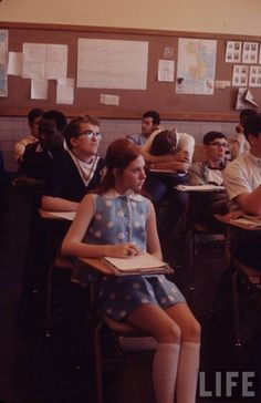 """A picture of a classroom from the 60s . The part of the backstory/ setting of """"doubt"""" was in a classroom."""