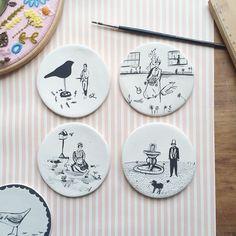 Instagram media by pollyfern - Painting some ceramic coasters #ceramics #gardenpeople