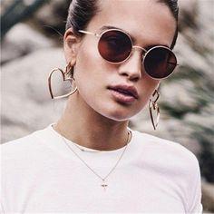 Double Heart Hoop Statement Earrings Urban Fashion Street Style - www.MyBodiArt.com