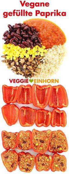 Vegane gefüllte Paprika aus dem Ofen | Leckere Füllung aus Reis, Champignons, Kidneybohnen und Mais | vegane Rezepte deutsch | vegan vegetarisch glutenfrei ohne Soja | Ein gesundes veganes Mittag oder Abendessen mit viel Gemüse | Healthy clean eating | Einfach vegan kochen | Rezept mit Schritt für Schritt Anleitung und VIDEO #VeggieEinhorn