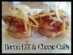 ✿´¯`*•.¸¸✿ SHARE SHARE SHARE ✿´¯`*•.¸¸✿  BACON, EGG, & CHEESE CUPS   So super simple and very good! Great for low carb! Don't serve plain ol' boring eggs & bacon, make these instead and WOW those you are cooking for! Spray muffin pan with olive oil. Line each cup with 1 piece of bacon. Keep it somewhat flush with the side of the cup. Crack open 1 egg in to each cup, inside the bacon ring. Add your favorite seasonings, (I just use pepper). Bake in the oven on 375° for 20 minutes for hard ...