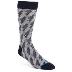 Men's Stance Kleberg Geometric Socks ($16) ❤ liked on Polyvore featuring men's fashion, men's clothing, men's socks, grey multi, mens socks, mens gray socks and mens grey socks