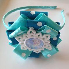 Frozen Elsa Inspired Hard Ribbon Wrapped Headband w/Snowflake Embellishment-Children Accessories-girls headband-girls hair bow-Elsa headband
