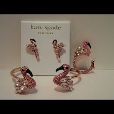 Kate Spade Words for the bird's the word flamingo Kate spade earrings, ring and bangle set. Guaranteed authentic FLAMINGO COLLECTION kate spade Jewelry