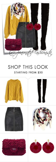 A fashion look from December 2017 featuring cable sweaters, short mini skirts and over-knee boots. Browse and shop related looks. Short Skirts, Mini Skirts, Cable Sweater, Tall Boots, Over The Knee Boots, River Island, Christian Louboutin, Fashion Looks, Ootd