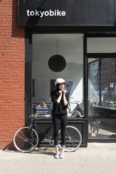 Meet #Commuter ambassador Juliana Rudell.  Julianna is a model, avid biker, and owner of tokyobike New York. She sports the Commuter High-Rise Skinny Jean here, in front of her shop.  Photo credit: Laura Wilson Photography