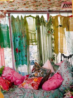 Such a fabulously boho collection of print, fringe, lace, embroidery, applique, cutwork, patchwork and loveliness! It's actually a sort of curtain... Totally inspirational for Made by Niki's SS14 'Almost Famous' lingerie collection.