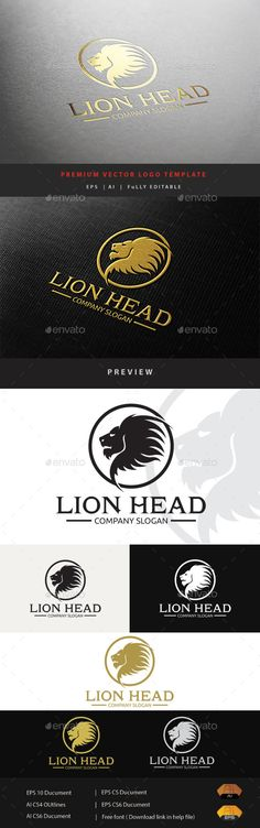Lion Head Logo Template Vector EPS, AI #design #logotype Download: http://graphicriver.net/item/lion-head/11863515?ref=ksioks