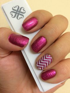 Fierce Fuchsia and White Chevron Jamberry Nail Wraps! Check out my Jamberry page at www.MarySeto.JamberryNails.net!