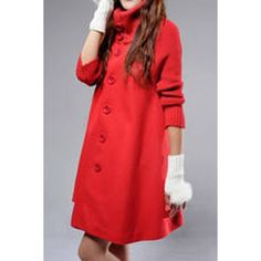 Solid Color Single-Breasted Stylish Turtleneck Long Sleeve Worsted Women's Coat