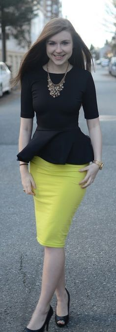 Black and yellow pencil skirt with a peplum top. I don't like the color of skirt but love this look for work. Would love a black peplum! Work Fashion, Skirt Fashion, Fashion Looks, Fashion Outfits, Womens Fashion, Fashion Design, Fashion Clothes, Women's Clothes, Fashion Spring