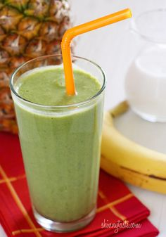 A tropical green smoothie made with pineapple, shredded coconut and bananas, then blended with spinach, light coconut milk and Greek yogurt. High in Vitamin A, B-6, C, Manganese and fiber.     I've been really addicted to green smoothies since I first tried them, some of you may remember the Skinny Green Monster made with spinach bananas and peanut butter... so good! I got my friends and family members hooked in it too! It's amazing how you can't taste the spinach, and every time I have one…