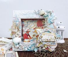 - Beach Life - Mixed Media Canvas By Kavitha Graphic 45 - By the Sea - Deluxe Collector's Edition, Large Tag, ATC Tag, and Flower Die Set Altered Canvas, Altered Art, Christmas Scrapbook Pages, Beach Canvas, Atc Cards, My Themes, Graphic 45, Mixed Media Canvas, Watercolor Cards