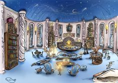 Ravenclaw Tower by ~DoraTheBrit, it's beautiful. I wish they showed it in the films and hufflepuff too.