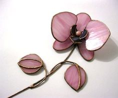 Витражный цветок. Розовая орхидея 3Д от MyVitraz на Etsy