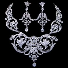 Bridal Royal Neaklace Earring Set, Wedding Jewelry Set, Vintage Inspired, Swarovski Crystal Clear Rhinestone, Bridal Silver Jewelry. $46.99, via Etsy.