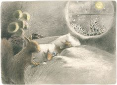 Chiaki Okada - sweet mama squirrel tucks her little ones in to bed with wintry moon outside the window