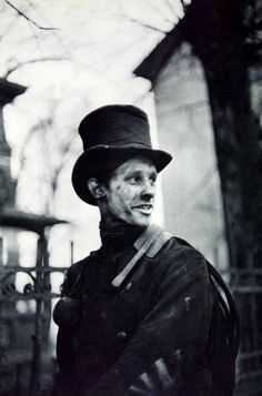 by Henri Cartier-Bresson Portrait of a chimney sweep, in Hamburg, Germany, 1950s