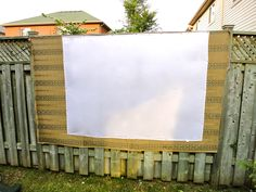 Make your own movie screen using a black-out cloth and a white sheet or tablecloth. Make sure to iron any creases and pull fabric taut. Use projector Backyard Movie Party, Backyard Movie Theaters, Movie Night Party, Party Time, 50th Party, Birthday Parties, Birthday Ideas, Backyard Garden Design, Family Night