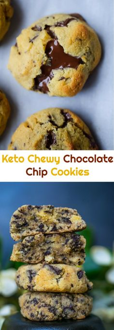 Keto Chewy Chocolate Chip Cookies – Perfectly chewy and gooey, low carb chocolate chip cookies. Peace Love and Low Carb via Chocolate Chip Cookies Rezept, Cookies Receta, Keto Chocolate Chips, Baking Chocolate, Chocolate Meringue, Chocolate Chocolate, Chocolate Truffles, Chocolate Covered, Low Carb Cookies