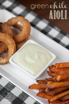 Green Chili Aioli takes only minutes to blend & quickly becomes a spicy, creamy, flavorful spread or dip you can enjoy with fries, rings, or on a sandwich.