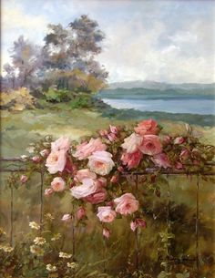 Magic, thin, delicate scent of roses and such wonderful . Artist R. Discussion on LiveInternet - Russian Service Online diary Art And Illustration, Illustrations, Art Floral, Landscape Art, Landscape Paintings, Aesthetic Painting, Rose Art, Watercolor Rose, Italian Artist