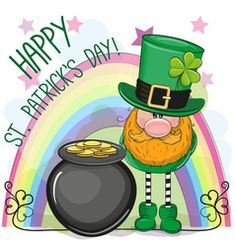 St patricks greeting card with leprechaun vector patricks day images pictures Saint Patricks Day Art, Happy St Patricks Day, St Patrick's Day Crafts, Crafts For Kids, Gnome Paint, Chocolate Bonbon, March Bullet Journal, Irish Leprechaun, Kobold