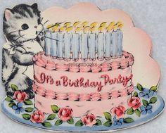 #101 40s NORCROSS, Kitten, Cat Blows Out the Candles, Vtg DIE-CUT Greeting Card