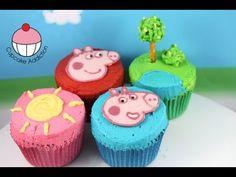 Peppa Pig Cupcakes - DIY tutorial with My Cupcake Addiction Pig Cupcakes, Birthday Cupcakes, Cupcake Cakes, Cupcake Videos, Cupcake Recipes, Peppa Pig Y George, Fondant, Cake Pops, Chocolates
