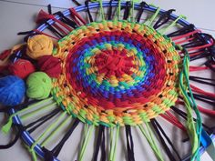 Hulahoop rug out of t-shirts.