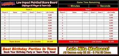 Low Impact Paintball Score Board - Displays all Low Impact Paintball Game Info