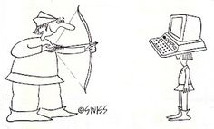 Computers.  William Tell takes aim at an Apple computer.  Cartoon published by National Enquirer in 1983. (I know Tell used a crossbow.  A longbow was easier for me to draw in those days.) #macs #computers #swiss