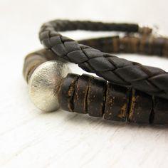 Men's Coconut Wood Bracelet with Sterling Silver / by byjodi, $42.00