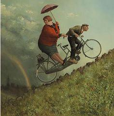 Legendary Marius van Dokkum, Dutch artist and Illustrator Marius van Dokkums picture. - Artistic and Nice Marius van Dokkum, D. Umbrella Art, Bicycle Art, Bicycle Painting, Dutch Painters, Dutch Artists, Funny Art, Figure Painting, Contemporary Artists, Art History