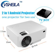 Mini Video Projector LCD Android 4.4 Wifi Bluetooth LED Projector Wifi Display 120'' for Home Theater TV Viewing Multimedia HDMI