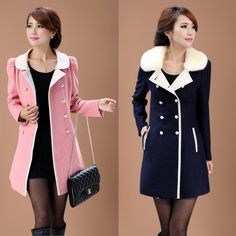 2016 New Women Wool Blends Coat Double Breasted Detachables Coats Outerwear Skin Pink Navy Blue 8635