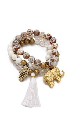 Lead Beaded Elephant Bracelet Set