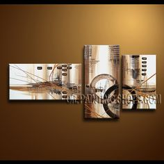 Enchant Modern Abstract Painting Hand Painted Oil Painting Stretched Ready To Hang Abstract. This 3 panels canvas wall art is hand painted by A.Qiang, instock - $152. To see more, visit OilPaintingShops.com