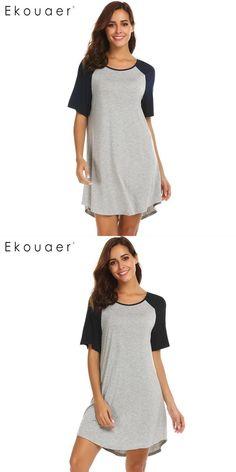 7db1aeb1bf Patchwork short sleeve women irregular hem night dress nightgowns for women  plus size