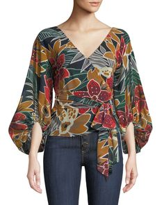 Riston Floral-Print Wrap Blouse by Club Monaco at Neiman Marcus Club Monaco, Blouse Styles, Blouse Designs, Dress Designs, Mode Outfits, Casual Outfits, Mode Batik, Hijab Fashion, Fashion Dresses