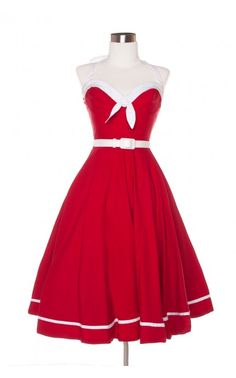 Pinup Couture - Sailor Swing Dress in Red with White Trim | Pinup Girl Clothing