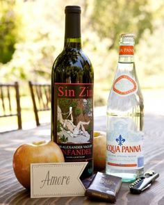 The welcome bag at this wine country wedding included dark chocolate (one of the groom's favorites), apples (a nod to the dinner in the orchard), and a bottle of zinfandel from a nearby vineyard.