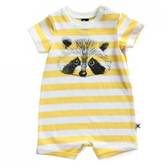 Minti Baby Summer Suit Racoon - Yellow Stripe - Ragamuffins New Zealand