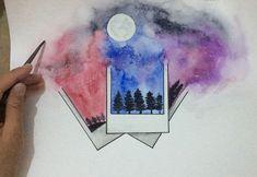 Polaroid Fotos mit Aquarell – Polaroid photos with watercolor – Galaxy Painting, Galaxy Art, Watercolor Drawing, Painting & Drawing, Watercolor Landscape, Watercolor Paintings Tumblr, Space Watercolor, Prima Watercolor, Art Drawings Sketches